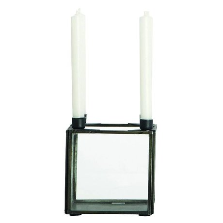 Housedoctor SQUARE black metal candlestick cube 10x10xh10cm