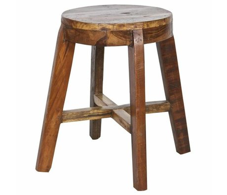 LEF collections Stool 'Inca' wooden chair 49x49x46cm