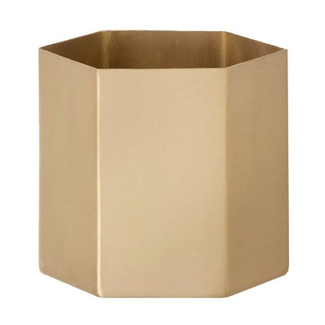 Ferm Living Hexagon gold brass pot Ø13,5x12cm- Large