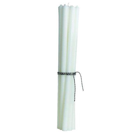 Housedoctor Kaars (set van 12) dunne potloodkaarsen wit h30cm