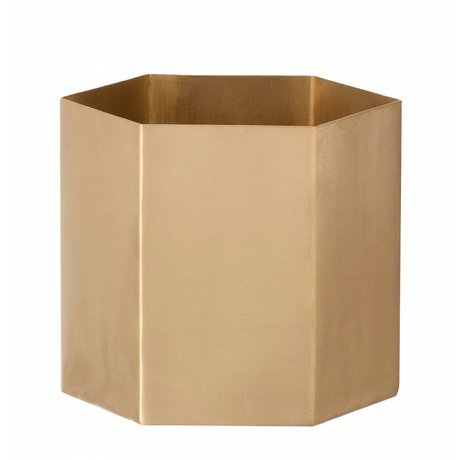Ferm Living Pot Hexagon brass goud Ø10x9cm- Small