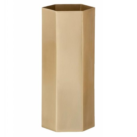 Ferm Living Hexagon Messingvase Matte gold Ø8 x18cm