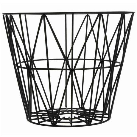 Ferm Living Basket schwarzem Eisen 3 Größen 40x35cm, 50x40cm, 60x45cm Kabelkorb