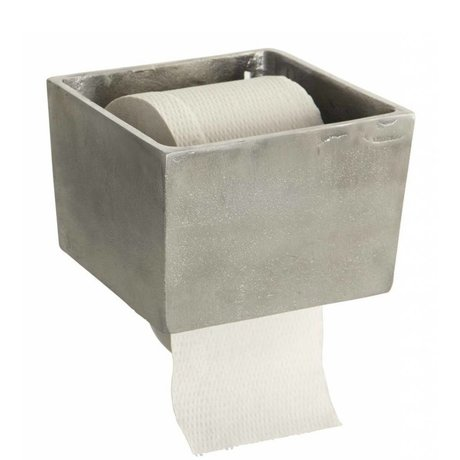 Housedoctor Toilet roll holder 'Raw' aluminum gray 14,5x14,5x10cm