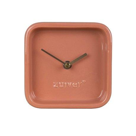 Zuiver Horloge mignon 13,5x6x13,5cm en céramique rose