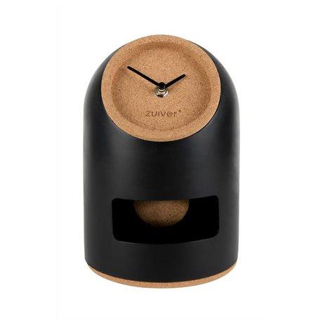 Zuiver Horloge de table Uno Ø17x24,5cm liège béton noir