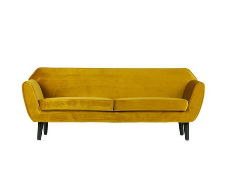 LEF collections Bank Rocco sofa oker geel fluweel polyester 187x82x75cm