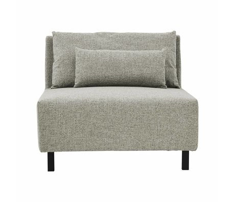 Housedoctor sofa 2 cushions box grijs melange metaal polyester 90x100x75cm