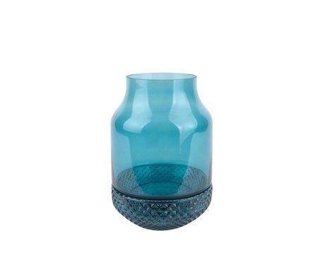 pt, Vaas Gem blauw glas Ø16x23,5cm
