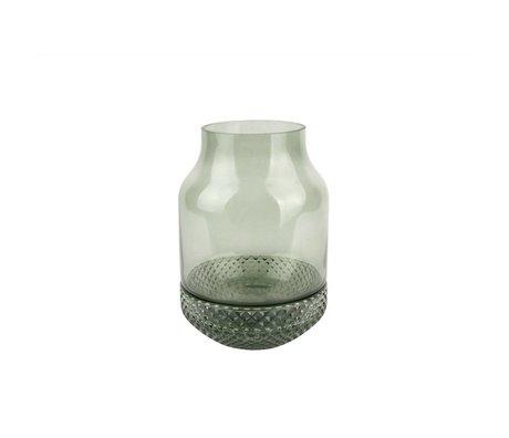 pt, Vase en verre vert Gem Ø16x23,5cm