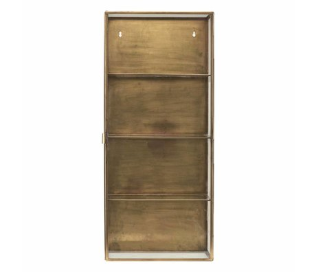 Housedoctor Wall cabinet brass yellow copper iron glass 35x15x80cm