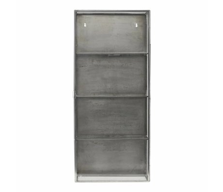 Housedoctor Wall cabinet zinc gray metal glass 35x15x80cm