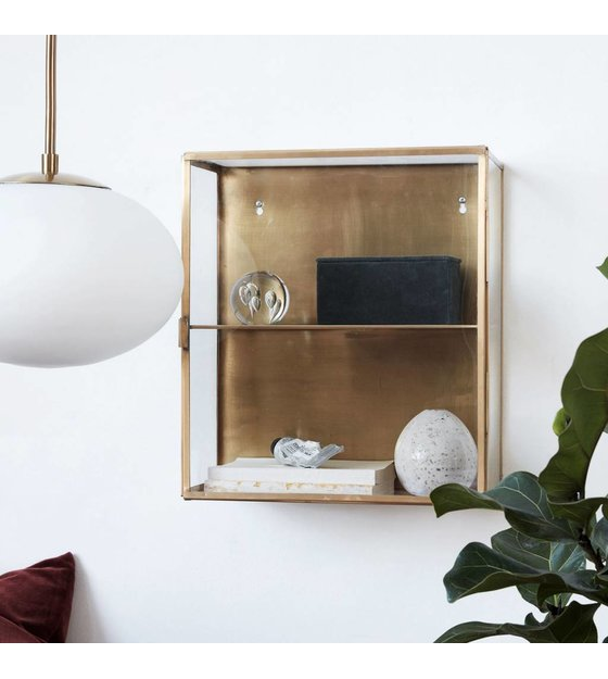 Housedoctor Wandkast Messing Geel Koper Metaal Glas35x15x40cm