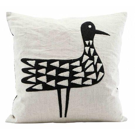 Housedoctor Coussin oiseaux coton noir et blanc 50x50cm