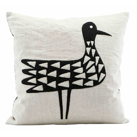 Housedoctor Cushion cover Bird black and white cotton 50x50cm