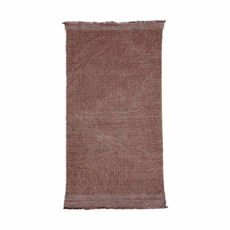 Housedoctor Tapis Shander Burnt Henna coton rose rouge, 200x90cm de jute