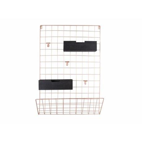 pt, Memobord koper metaal hout 66x45x13cm