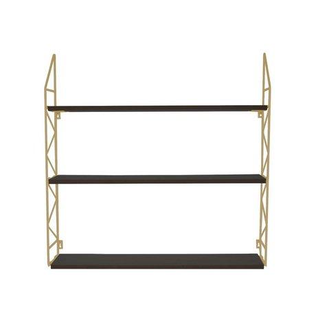 pt, Wandrek Zig Zag goud metaal hout 60x60x11cm
