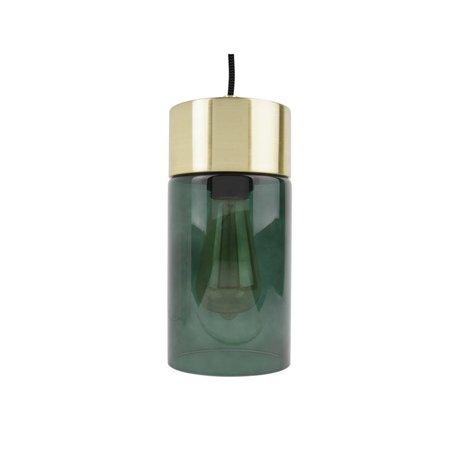 Leitmotiv lumière pendentif en or Lax verre vert Ø12cmx24,5cm