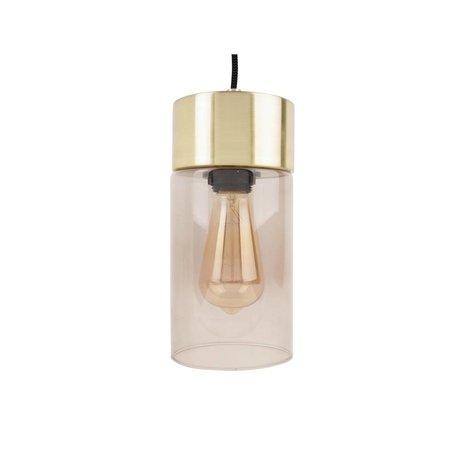 Leitmotiv Hanglamp Lax goud grijs glas Ø12cmx24,5cm