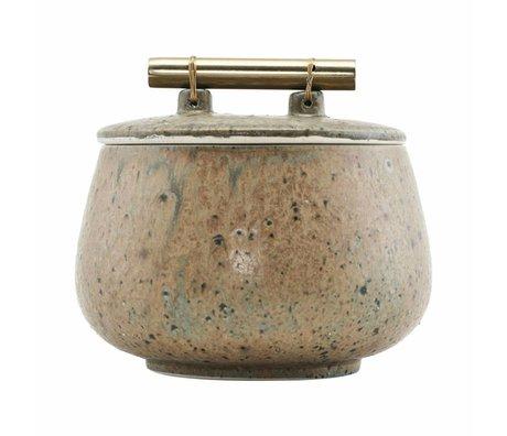 Housedoctor plat de rangement avec couvercle vert poterie Diva Ø14x12cm