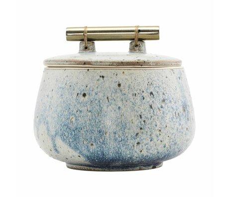 Housedoctor plat de rangement avec couvercle Diva poterie gris bleu Ø14x12cm