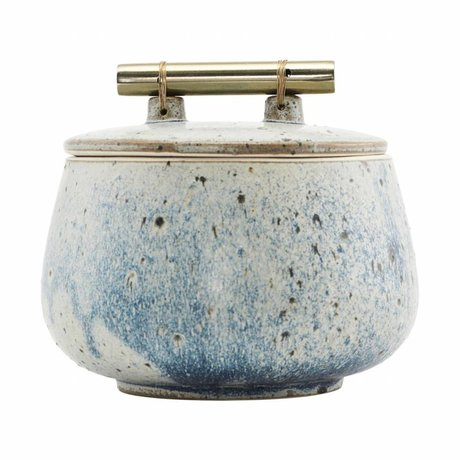 Housedoctor Storage box with lid Diva gray blue pottery Ø14x12cm