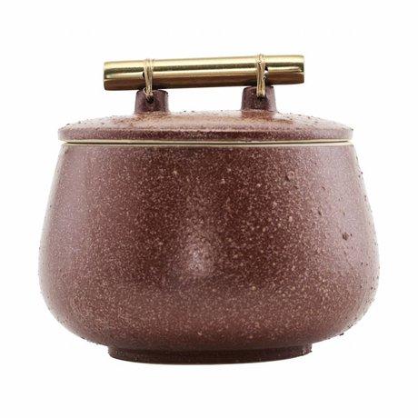 Housedoctor plat de rangement avec couvercle Diva brûlé poterie rouge henné Ø14x12cm