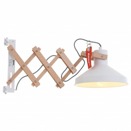 Anne Lighting Wall lamp Woody scissors white metal wood metal ø23x40-66cm