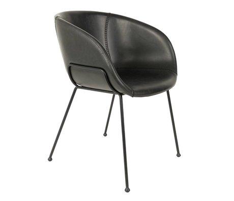 Zuiver Chaise de salle à manger Feston noir imitation cuir 56,5x55x77cm