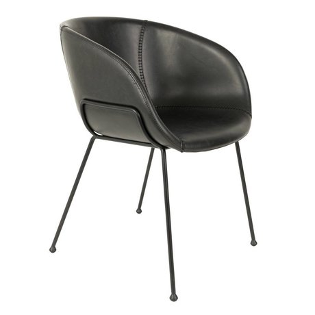 Zuiver Dining chair Feston black imitation leather 56,5x55x77cm