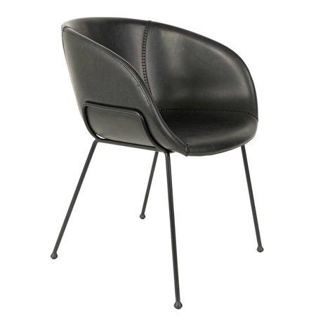 Zuiver Dining chair Feston black imitation leather 56,5x55x77cm