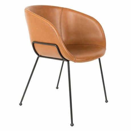 Zuiver Chaise de salle à manger Feston marron imitation cuir 56,5x55x77cm