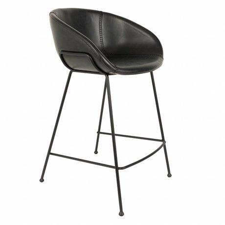 Zuiver Tabouret de comptoir feston cuir noir imitation 54,5x53x88,5cm