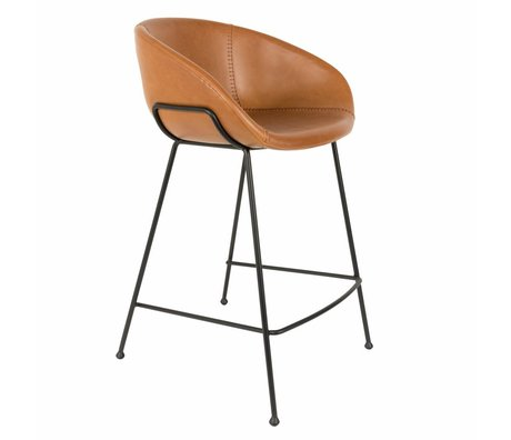 Zuiver Stools Feston Counter brown imitation leather 54,5x53x88,5cm