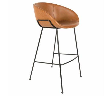 Zuiver Barkruk Feston brown imitation leather 54,5x53x98,5cm