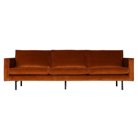 BePureHome Sofa Rodeo 3-seater rust orange velvet velvet 85x277x86cm