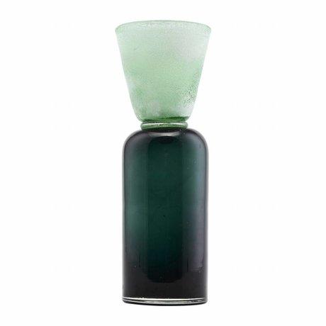 Housedoctor Waxinelichthouder Funnel blauw groen glas Ø9x28cm