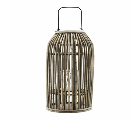 Housedoctor Lantern Ova natural rattan glass metal Ø20x32cm