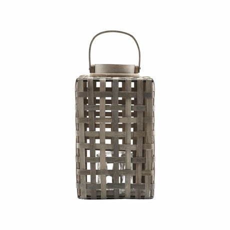 Housedoctor Laterne Naturrattan Glas Metall 20x42cm