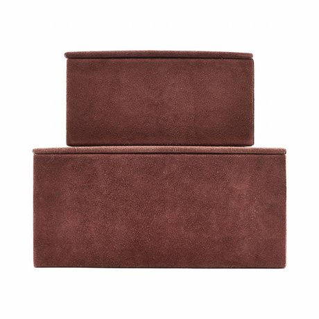 Housedoctor Storage set Suede red leather MDF paper set of 2
