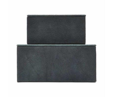 Housedoctor Storage set Suede black leather MDF paper set of 2