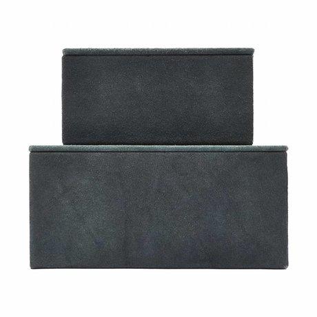 Housedoctor Aufbewahrungs- Veloursleder schwarz MDF Papier 2er-Set