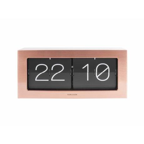 Karlsson Flip Clock Boxed Kupfer Orange Stahl 17,5x37cm