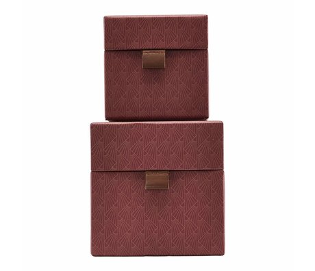 Housedoctor Fane Lagerung roten Leder Karton kleinen Satz von 2 gesetzt