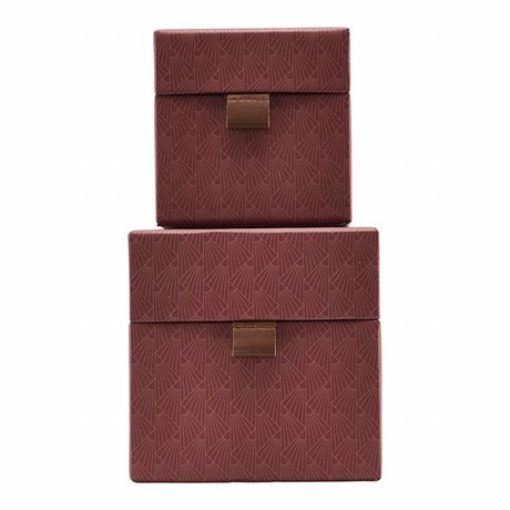Housedoctor Storage set Fan red leather cardboard small set of 2
