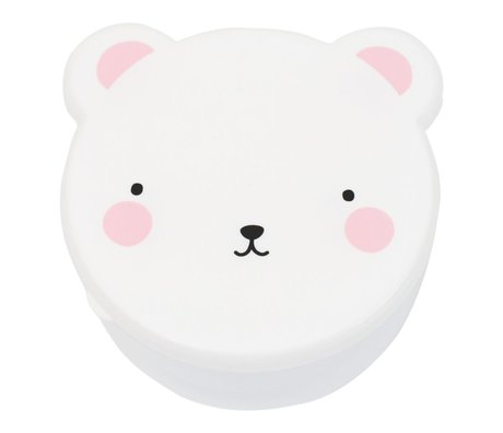 A Little Lovely Company Lunchbox casse-croûte boîte ours blanc en plastique rose ensemble de 4
