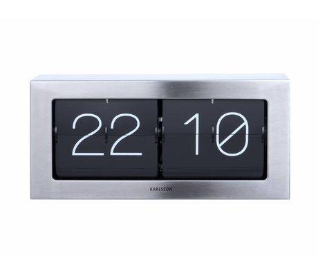 Karlsson acier argent Flip Clock Boxed 17,5x37cm