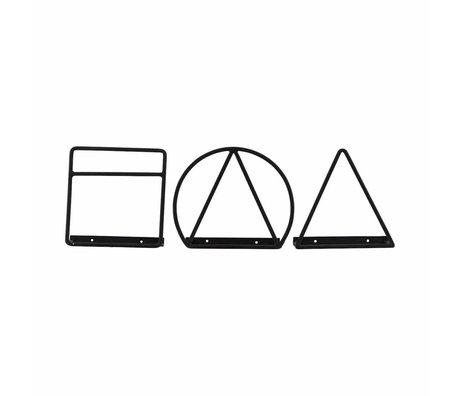 Housedoctor Magazine rack Loge black iron 20cm set of 3