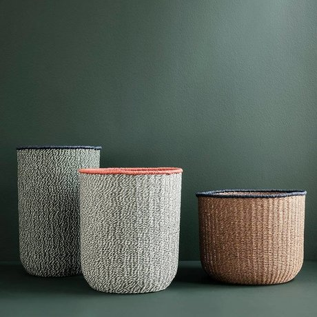 Ferm Living Set of 3 braided baskets gray brown braided paper